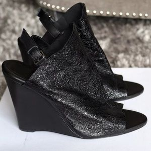 Balenciaga crinkle patent leather glove wedges
